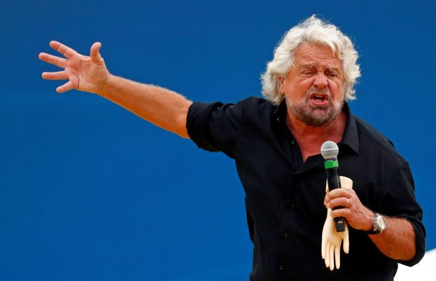 Founder Beppe Grillo speaks at the 5-Star Movement party's open-air rally at Circo Massimo in Rome, Italy,...