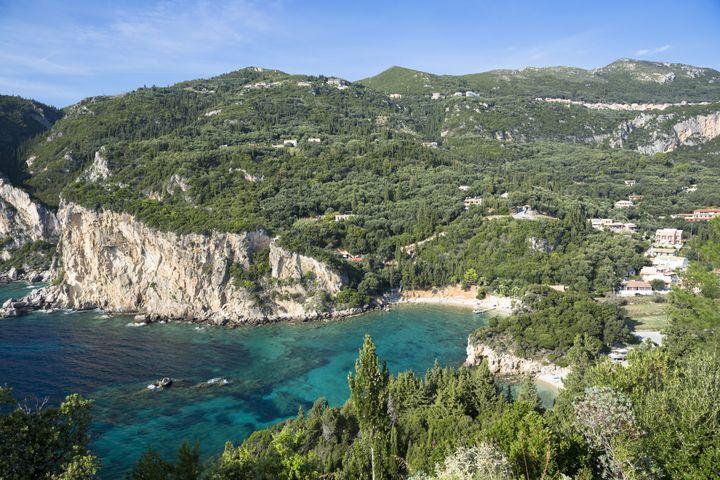 CORFU - OCTOBER 04: Paleokastritsa beach resort - blue sky, cliffs and turquoise Ionian Sea in Corfu, Ionian Islands, Greece (Photo by Tim Graham/Getty Images)