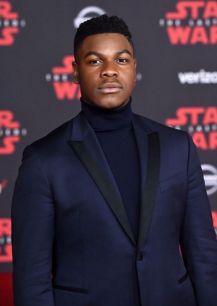 "John Boyega attends the premiere of ""Star Wars: The Last Jedi"" on Dec. 9, 2017 in Los Angeles."