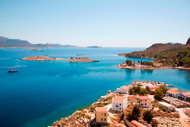 Island Of Kastelorizo Or Megisti, Panorama With The Coast Of Turkey, Mediterrean Coast, Greece. (Photo...