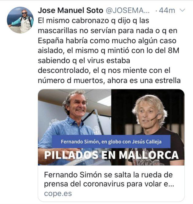 El tuit que José Manuel Soto ha