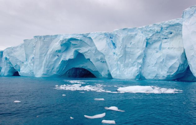 Icebergs amongst the ice floe in the southern ocean, 180 miles north of East Antarctica,