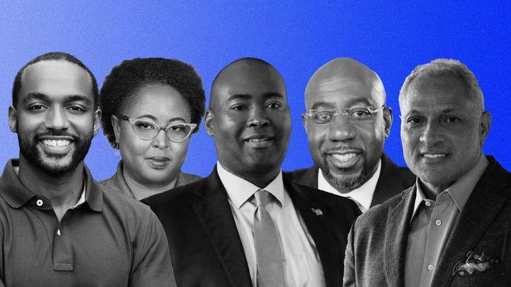 From left: Democratic Senate candidates Adrian Perkins, Marquita Bradshaw, Jamie Harrison, Raphael Warnock and Mike Espy.