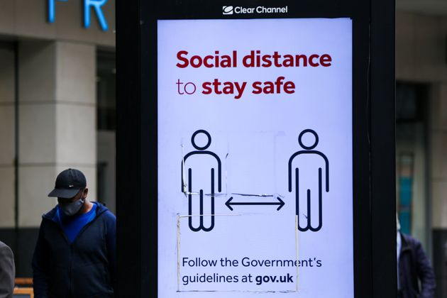 A digital advert in London highlights 'Social distance to stay safe' during the COVID19. The number of...