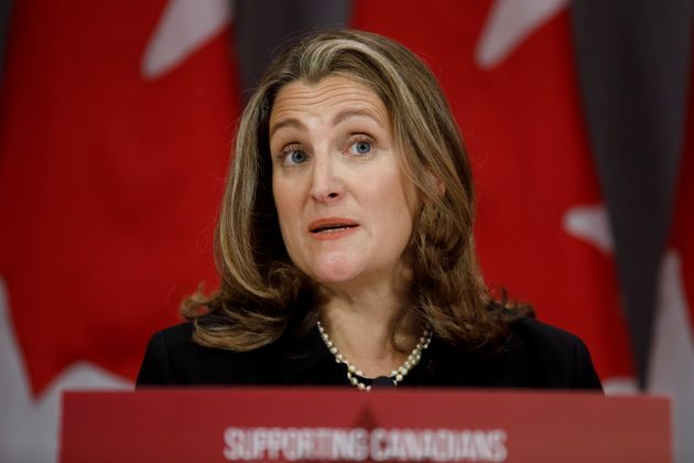 Deputy Prime Minister Chrystia Freeland speaks during a press conference in Toronto on Aug. 31, 2020.