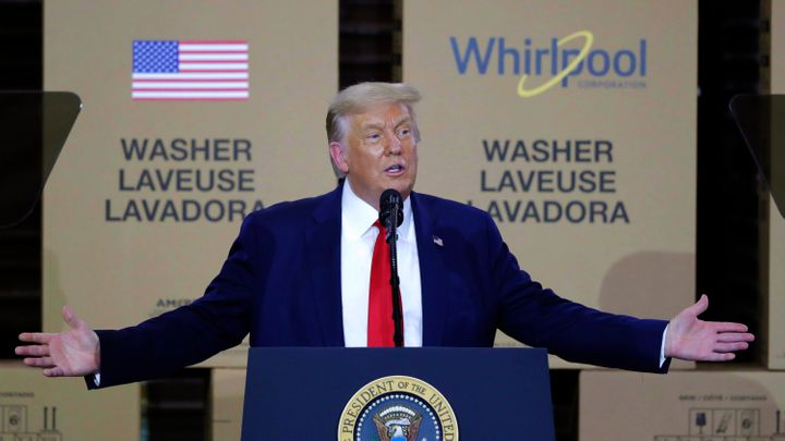President Donald Trump speaks during an event at the Whirlpool Corporation Manufacturing Plant in Clyde, Ohio, on Aug. 6, 2020.