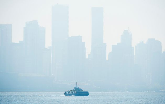 Smoke fills the sky and blankets the skyline in Vancouver, British Columbia on Sept. 8,