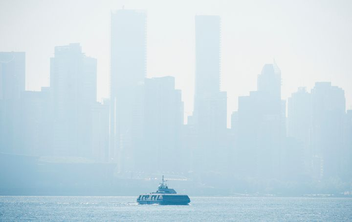 Smoke fills the sky and blankets the skyline in Vancouver, British Columbia on Sept. 8, 2020.