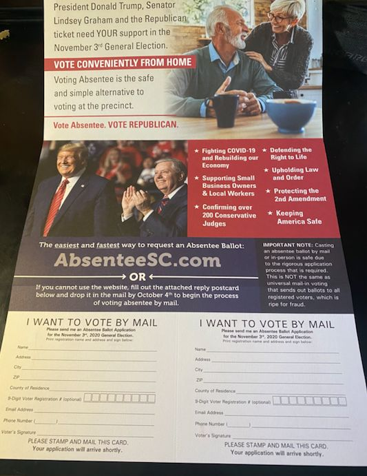 "The mailer includes handy postcards that state ""I Want To Vote By Mail."""