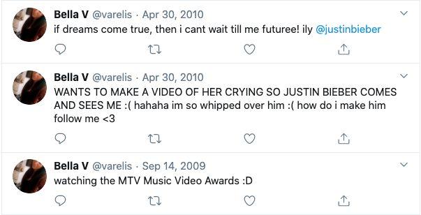 Same, Bella. Same. 'The Bachelor Australia' contestant Bella Varelis loved Justin Bieber on Twitter during her high school days.