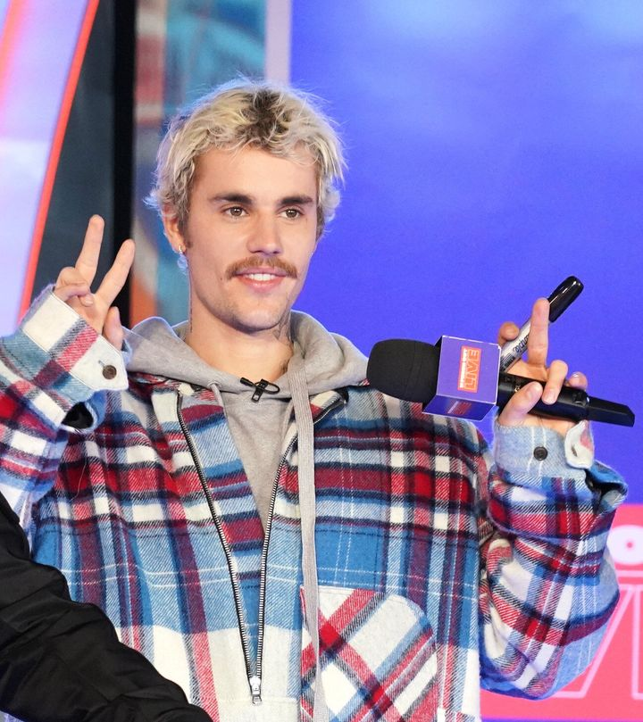 "Justin Bieber appears onstage at MTV's ""Fresh Out Live"" on February 07, 2020 in New York City."