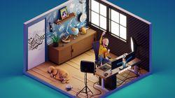 Pour décrocher un travail, il réalise en 3D le studio d'un