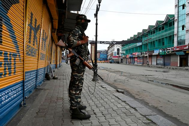 A security personnel in Srinagar on August 28,