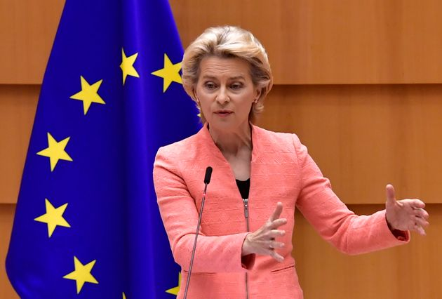 The President of the European Commission Ursula Von der Leyen addresses her first state of the union...