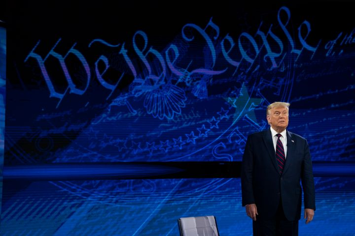 """U.S. President Donald Trump arrives for an ABC News town hall in Philadelphia on Tuesday where he said""""a lot of people think the masks are not good."""""""