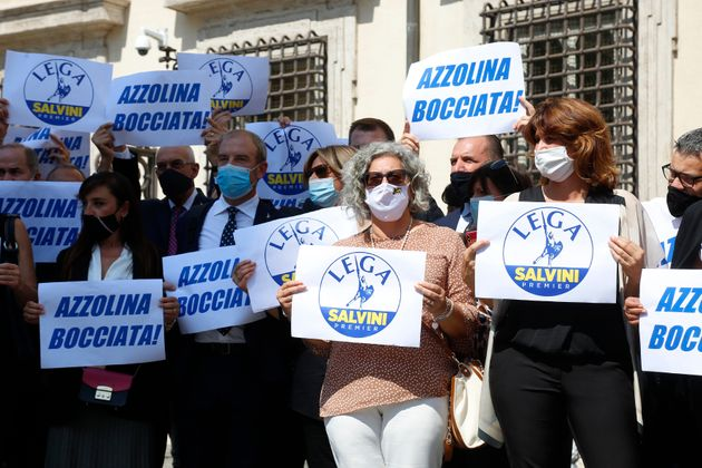Deputies and senators of the right party Lega per Salvini Premier showing banners and signs against the...