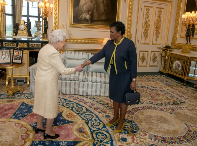 Queen Elizabeth II receives Governor-General of Barbados Dame Sandra Mason during a private audience...