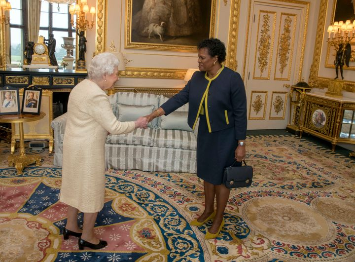 Queen Elizabeth II receives Governor-General of Barbados Dame Sandra Mason during a private audience at Buckingham Palace on
