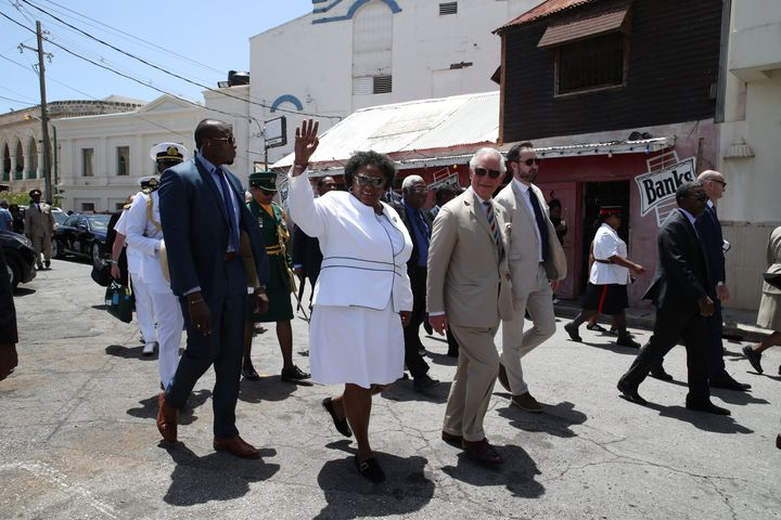 Prince Charles during a walkabout with the Prime Minister of Barbados, Ms Mia Mottley in Bridgetown, Barbados on March 19, 20
