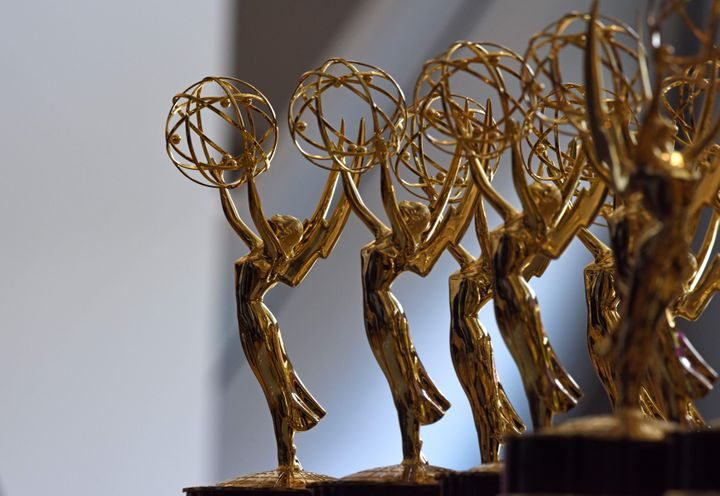 Emmy statues are lined up before the 70th Emmy Awards at the Microsoft Theater in Los Angeles on Sept. 17, 2018.