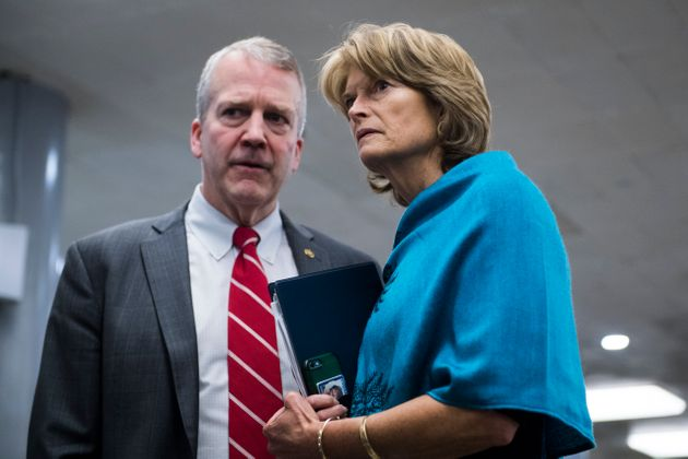 Sens. Dan Sullivan and Lisa Murkowski, Alaska Republicans, consult on Capitol Hill. Murkowski has a more...