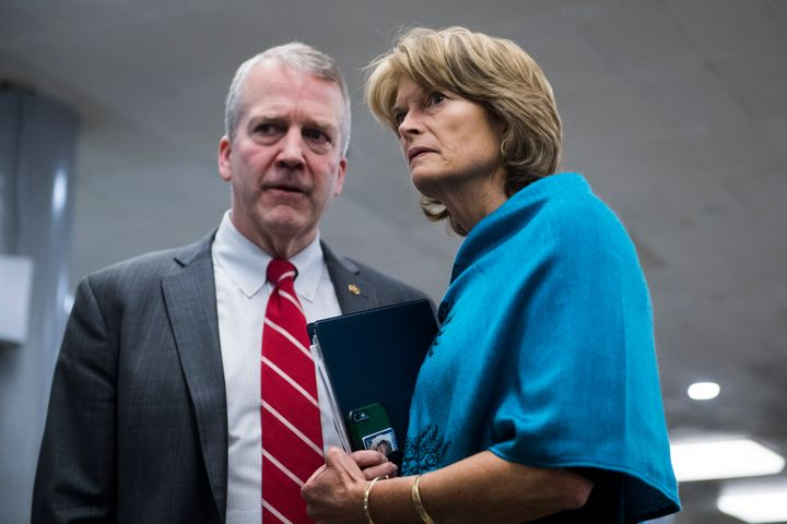 Sens. Dan Sullivan and Lisa Murkowski, Alaska Republicans, consult on Capitol Hill. Murkowski has a more moderate record, including a key vote against repealing Obamacare.