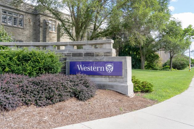 A Western University sign at one of the gates to the campus in London, Ont. on Aug. 30,