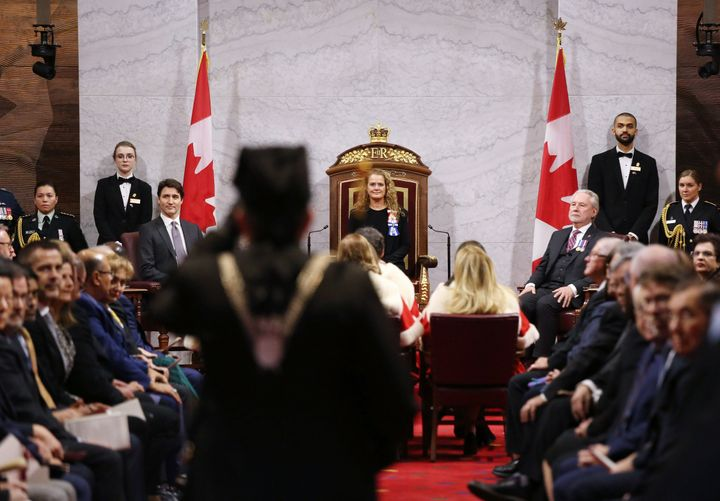 Governor General Julie Payette and Prime Minister Justin Trudeau (L) wait for the start of the throne speech in the Senate of Canada on Dec. 5, 2019 in Ottawa.