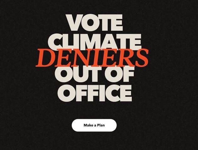 ウェブサイトに書かれた、「気候変動否定論者、落選させろ」のメッセージ