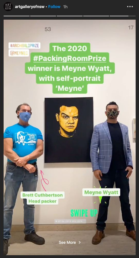 Actor and artist Meyne Wyatt was announced the Archibald's Packing Room Prize winner on Thursday for...