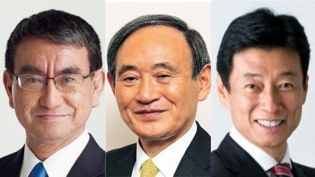 左から河野太郎、菅義偉、西村康稔の3氏の公式Twitterのプロフィール写真