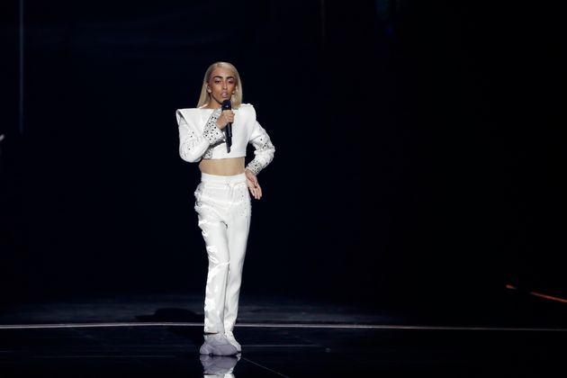 Bilal Hassani en pleine performance lors de la 64ème édition de l'Eurovision à Tel...