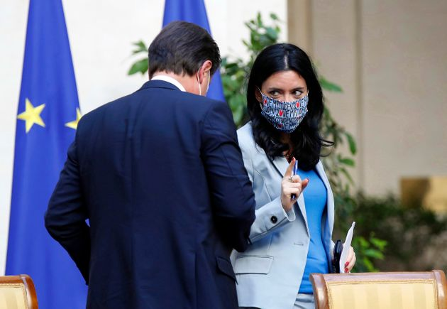 Minister of Instruction Lucia Azzolina and the Prime Minister Giuseppe Conte during the press conference...