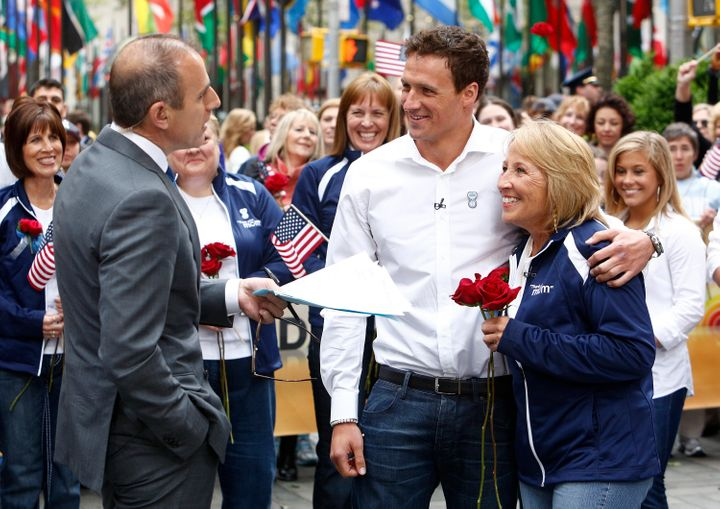 """Ryan Lochte and Ileana Lochte appear on the """"Today"""" show with Matt Lauer onMay 8, 2012."""