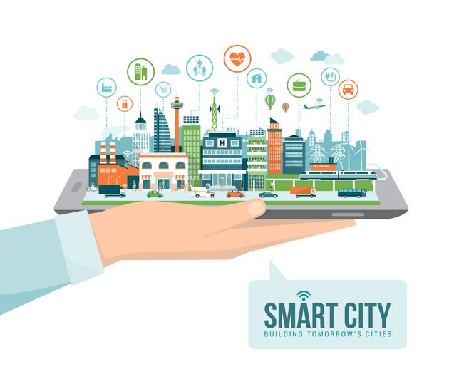 Hand holding a digital tablet with a contemporary smart city and apps icons: augmented reality and internet...