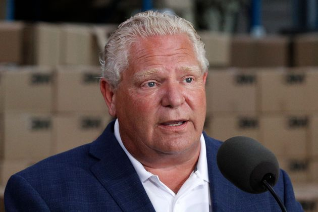 Doug Ford addresses the media at the 3M plant in Brockville, Ontario in August. The Ontario Premier...