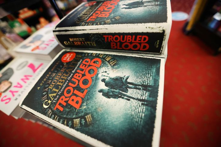 """J.K. Rowling's latest book, """"Troubled Blood,"""" written under the pseudonym Robert Galbraith, is pictured at a bookstore in Hanley, Stoke-on-Trent, Britain, on Sept. 15."""