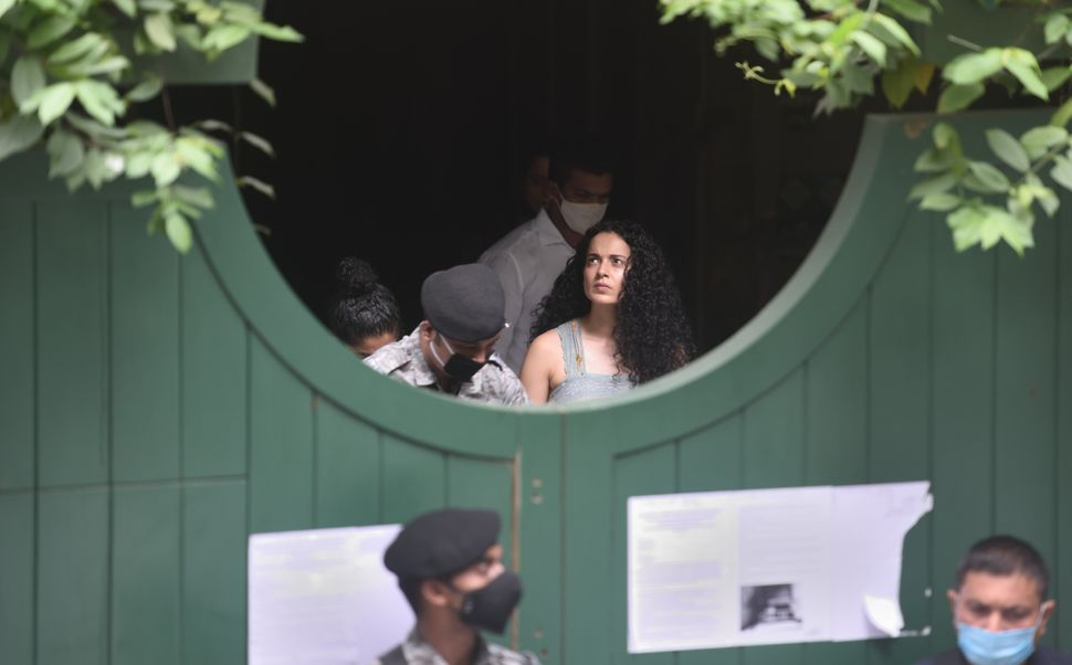 Kangana Ranaut visits her Pali hill office a day after BMC demolished the building citing illegal construction as the reason on September 10, 2020 in Mumbai.