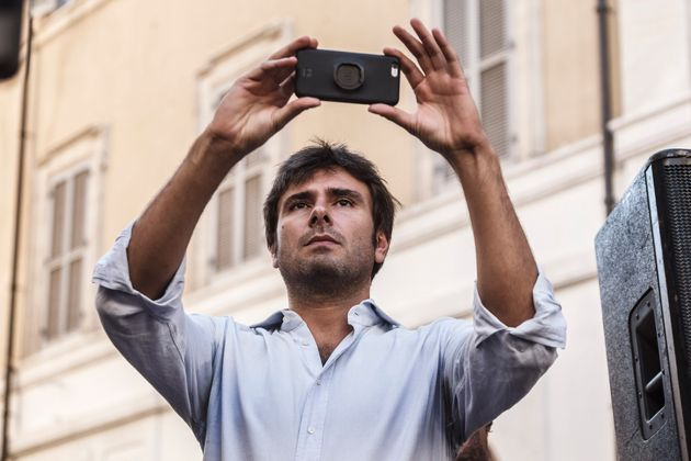 Alessandro Di Battista, Five Star Movement deputy, attends a demonstration, in front of the Chamber of...
