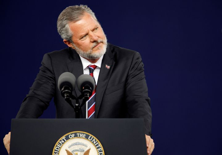 Liberty University President Jerry Falwell Jr. pauses during the school's commencement ceremonies in Lynchburg, Virginia, on