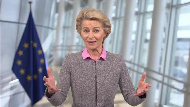 BERLIN, GERMANY - SEPTEMBER 16: In this screengrab, European Commission President Ursula von der Leyen...
