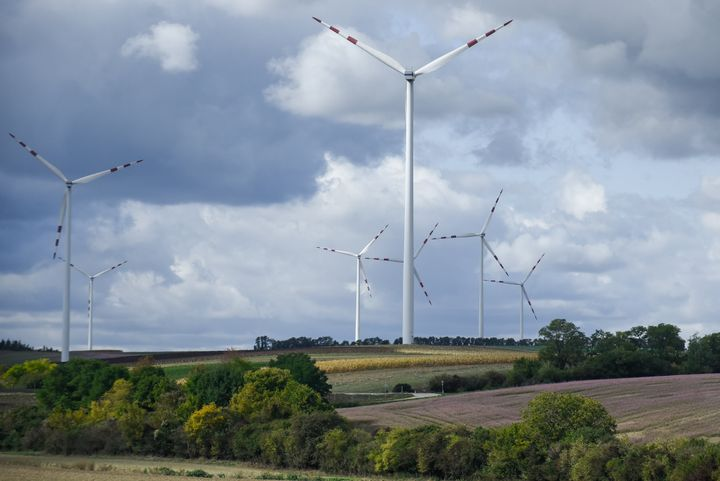 Wind turbines are seen on the outskirts of Vienna. Agriculture Minister Elisabeth Koestinge emphasized in an article pub