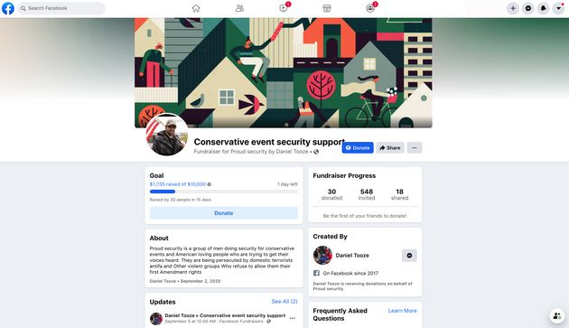 A Facebook page raising funds for the neo-fascist Proud Boys rally scheduled for Sept. 26 in Portland....