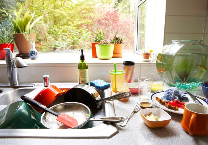 Food and socializing can make kitchen messiness especially bad.