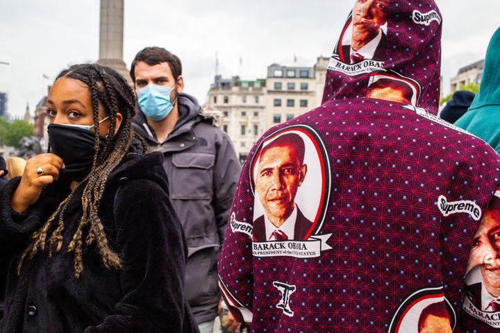 A protester wears a Barack Obama hoodie during a Black Lives Matter demonstration in the U.K.