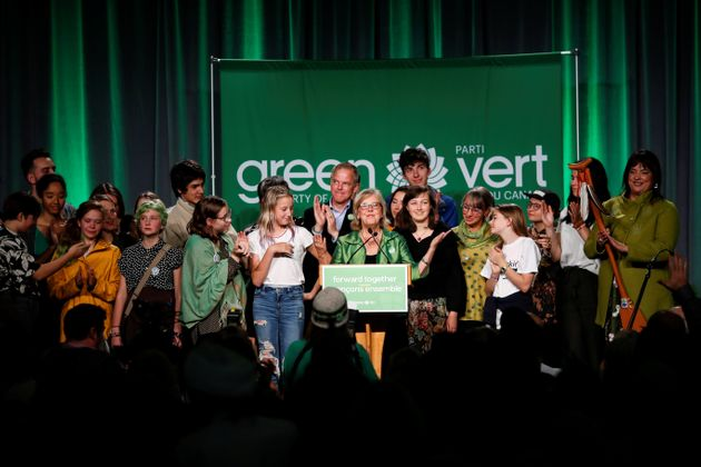 Then-Green Party leader Elizabeth May speaks to supporters after the federal election in Victoria on...