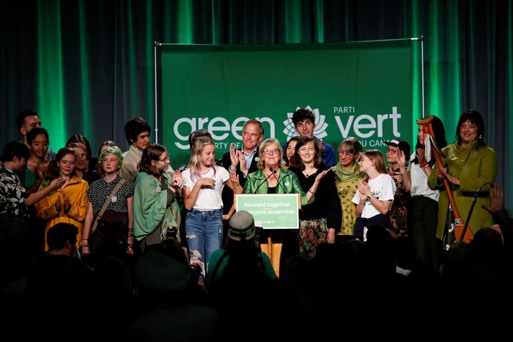 Then-Green Party leader Elizabeth May speaks to supporters after the federal election in Victoria on Oct. 21, 2019.