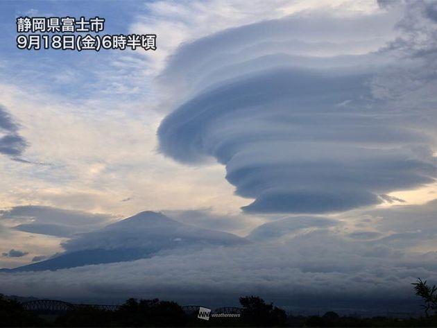 静岡県富士市より(9日6時半頃に撮影)