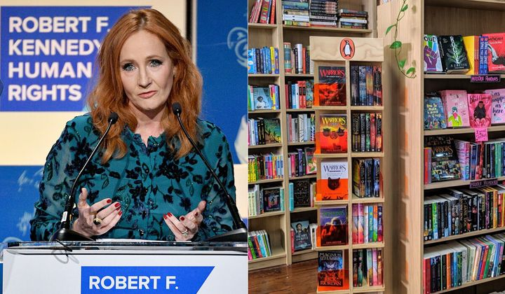 Australian bookshop Rabble Books and Games (right) will no longer stock the novels of JK Rowling (left).