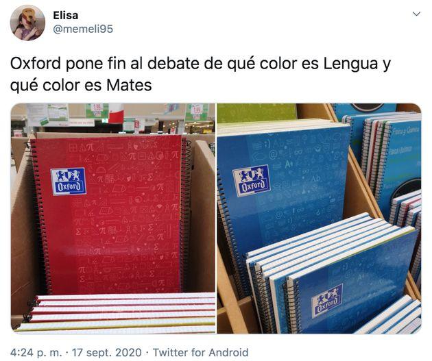 La imagen que ha provocado el debate en Twitter sobre el color de las libretas de